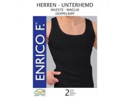 Herren Unterhemden, Doppelripp schwarz, 2er 100% BW