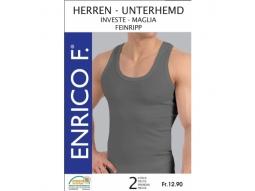 Herren Unterhemden grau meliert, 2er, Gr ass,  67%BW 33%Polyester