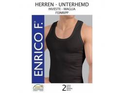 Herren Unterhemden, Feinripp schwarz, 2er 100%BW